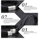 CIFBUY Multilayer Genuine Leather Rope Chain Man Bracelets Classical Simple Design Men Jewelry With Magnet Buckle PH1094
