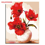 HELLOYOUNG Digital Painting DIY Handpainted Oil Painting Vase by numbers oil paintings chinese scroll paintings picture drawing