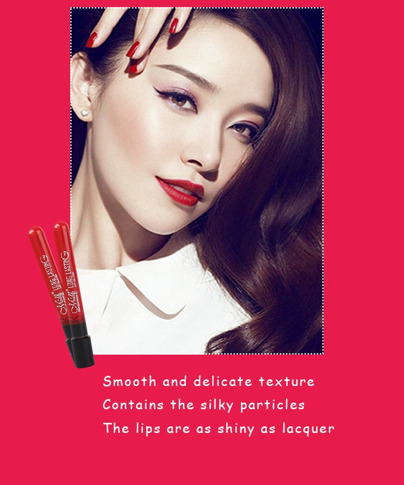 MR0009 New 24Color Lipgloss Matte Long Lasting Moisturizer Sexy Lip Gloss Waterproof Beauty Liquid Lipstick Cosmetic L11008