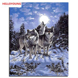 The call of the wolf Digital Painting Handpainted Oil Painting by numbers wolves oil paintings scroll paintings picture drawing