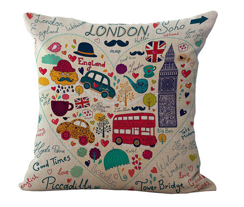 Cheap price Home Decorative throw pillow case london style car soider soldiers cotton linen cushion cover for sofa almofadas