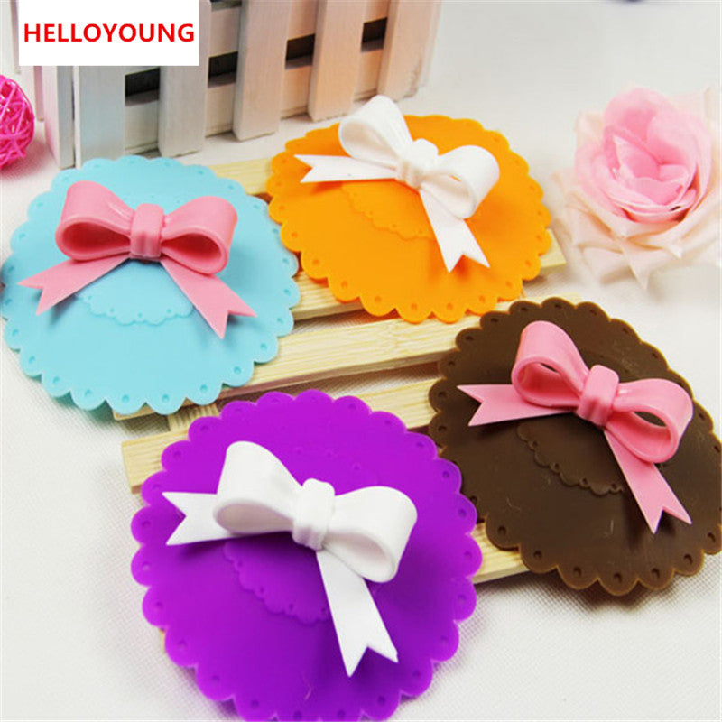 Cute 10.5cm Anti-dust Silicone Cup Cover Silicone Lovely Bowknot Cup Cover Coffee Suction Seal Lid Cap