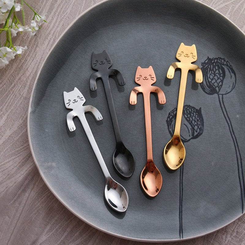 Coffee&Tea Spoon Mini Cat Long Handle Creative Spoon Drinking Tools Food grade Stainless Steel Kitchen Flatware Tableware
