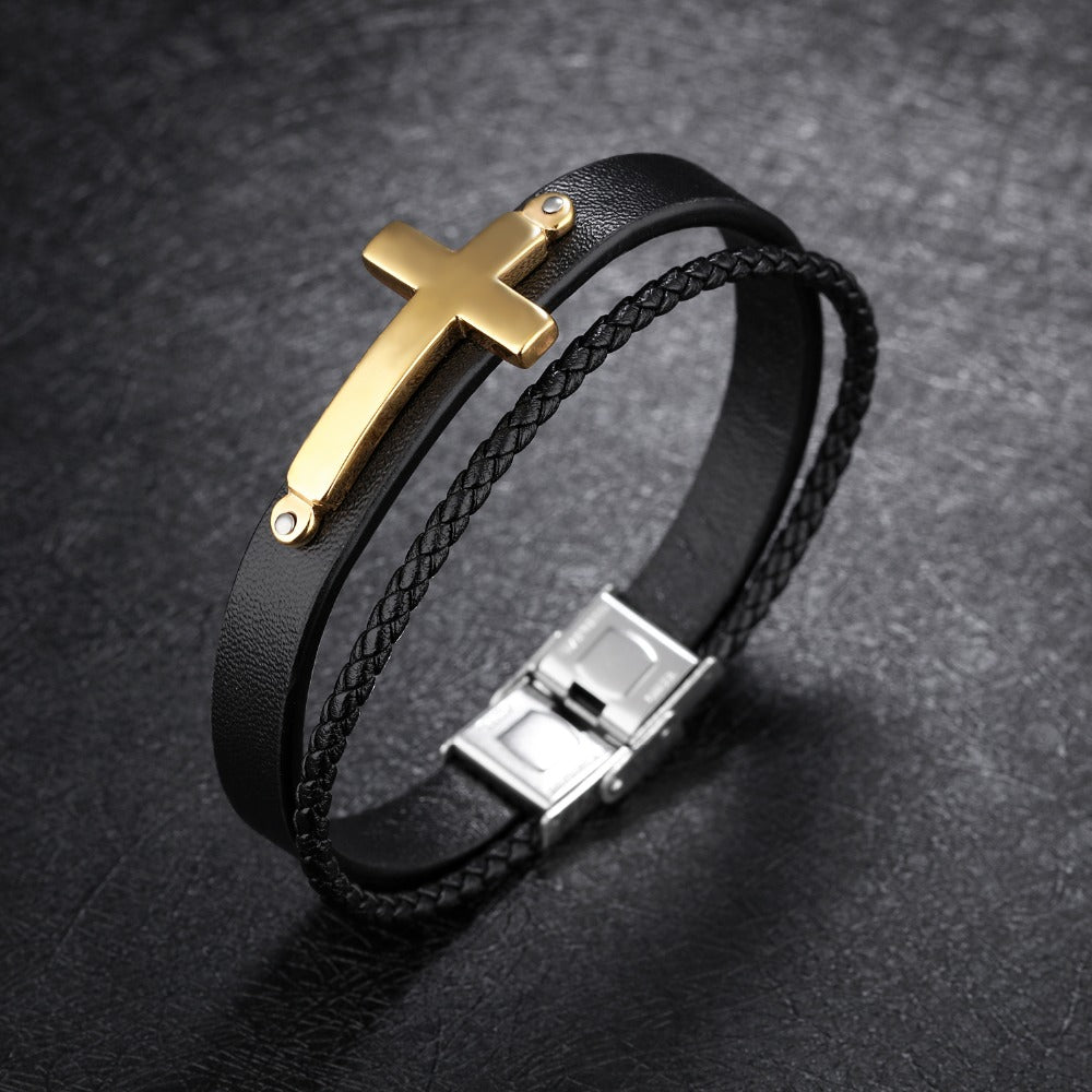 Trendy Leather Bracelets Men Bangles Black/Golden/Steel Color Stainless steel Cross Black PU Chain Men Jewelry Gifts PH1232