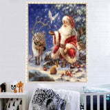 DIY Partial 5D Diamond Embroider The Father Chrismas  Round Diamond Painting Cross Stitch Kits Diamond Mosaic Home Decor