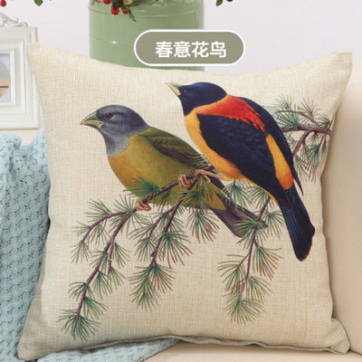 BZ005 Luxury Cushion Cover Pillow Case Country Birds Print Cushions Design Flower Linen Cotton Sofa Car Seat