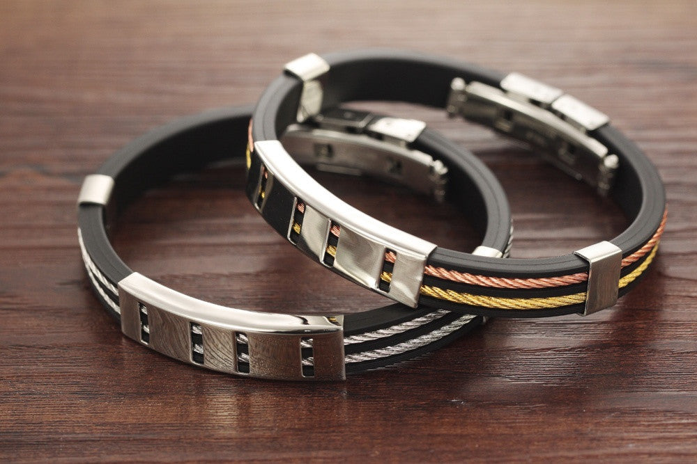 Cool Man Genuine Silicone Bangles Rock Punk Black/Rose Gold Color Stainless Steel Men Jewelry Bracelet Allergy Free PH841B