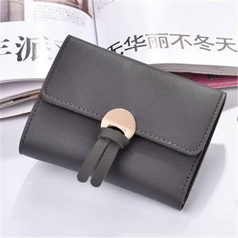 Japan&South Korea three fold lovely student buckle small fresh tassel wallet High-quality PU leather money clamps