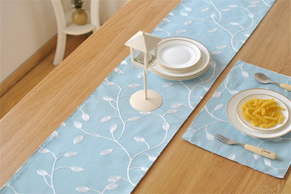 BZ382 Embroidered cotton fabric table runner table cloth pastoral simple European TV cabinet coffee table runner