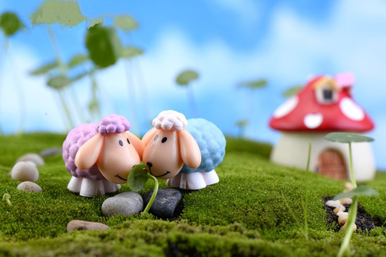 XBJ074  2pcs Long ears sheep resin decoration moss micro landscape deco  Garden deco Creative handicrafts