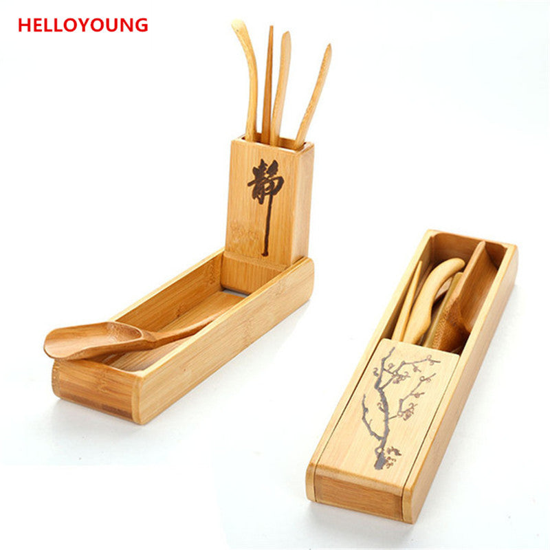CJ253 Tea Spoon Kit Box Folding Tea Tools Set 120 Degrees Folding Rotation Tea-leaf Clean Clip tea-set