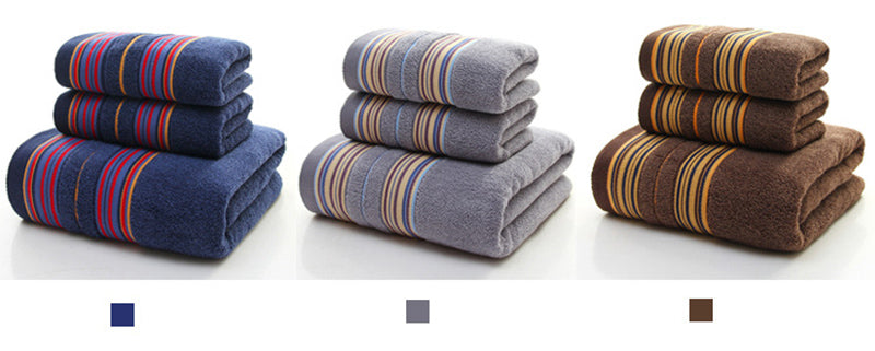 HELLOYOUNG 3-Pieces Thicker Stripe Pattern Soft Cotton Towel Set Bathroom Super Absorbent Bath Towel Face Towels