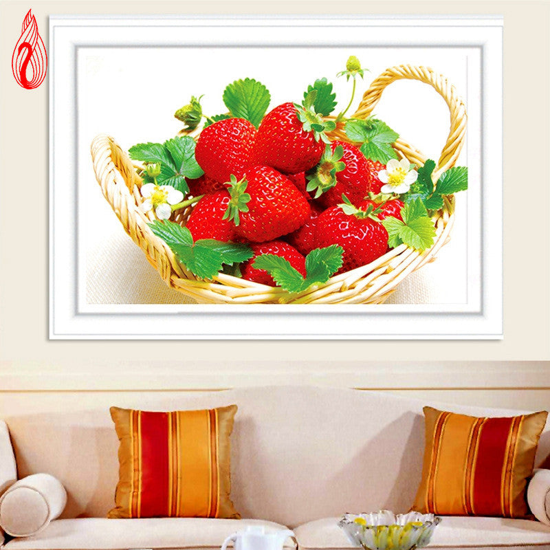 DIY 5D Full Diamond Embroidery Strawberry Food Round Diamond Painting Cross Stitch Kit Diamond Mosaic Home Decoration