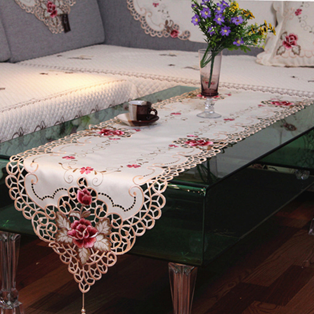 HELLOYOUNG Embroidered Rose Flower Cutwork Fabric Lace Table Runner Wedding Party Tablecloth Home Decor 4 Size