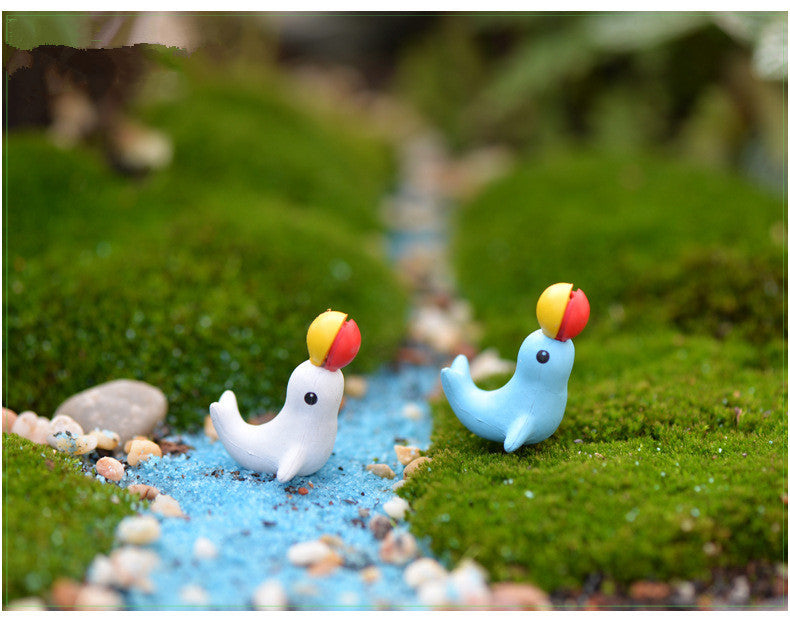 XBJ099 Mini 5pcs Top dolphin decoration supplies moss micro landscape deco  Garden deco Creative handicrafts