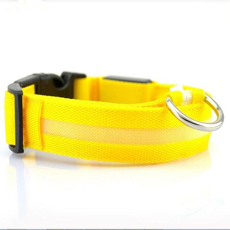 CW001 Nylon Pet Dog Collar LED Light Night Safety Light-up Flashing Glow in the Dark Cat Collar LED Dog Collars For Small Dogs