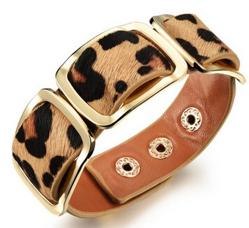 CIFBUY Leather Woman Bracelets & Bangles European & American Black/Orange/Leopard Print Color Leather Women Jewelry Gift PH1004