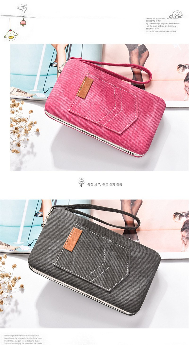 Cute large capacity multi-functional lunch box clutch High-quality PU Fabric Long pocket bag Card & ID Holders Money Clip