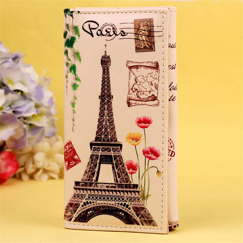 Fashion Women Leather Wallet Big Ben Eiffel Tower Graffiti Female Lady Wallet Coin Card Purse portefeuille femmeCarteiraFeminina