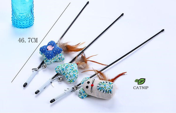 1pcs Cat Teaser Wand With Feather Catnip Plush Mice Kitten Interactive Toy cat teaser stick