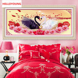 DIY 5D Diamonds Embroidery Love is better than gold Swans Round Diamond Painting Cross Stitch Diamond Mosaic Home Decor