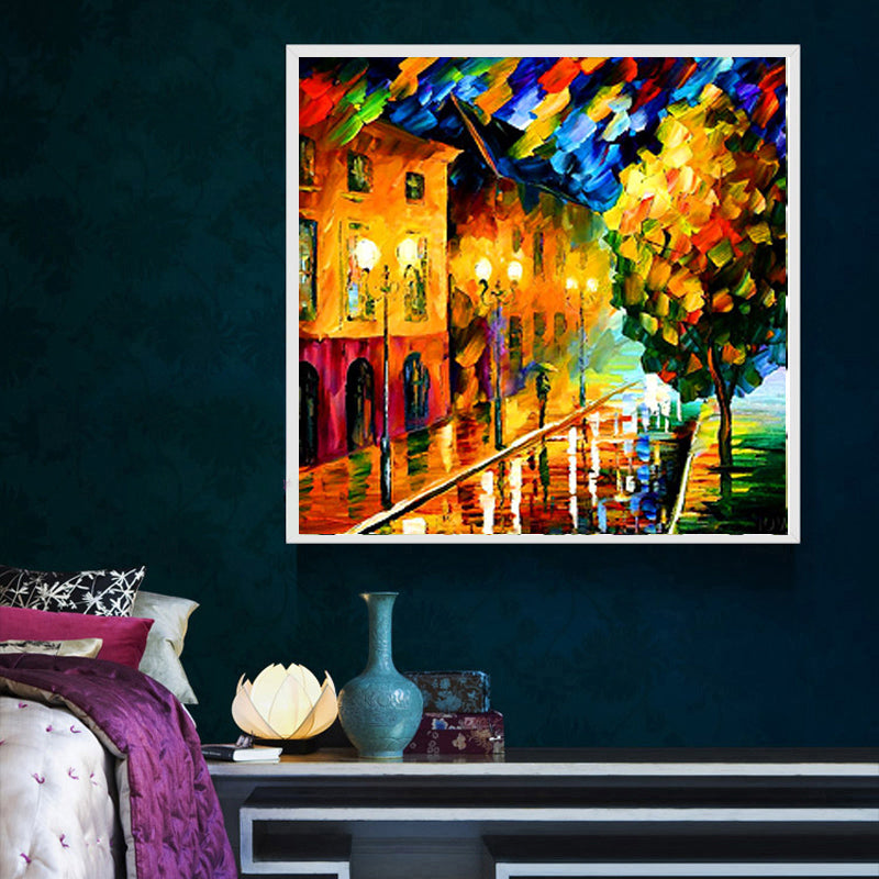 DIY 5D Partial Diamond Embroidery The Night view Round Diamond Painting Cross Stitch Kits Diamond Mosaic Home Decor