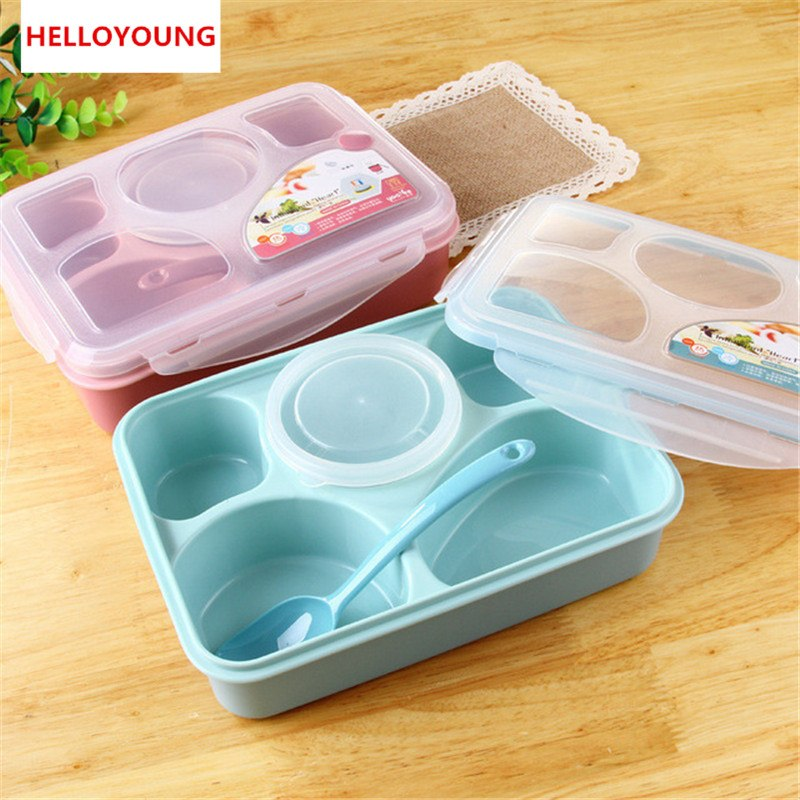 CJ011 Bento Box Tableware Suit Oven lunchbox Microwave Dinnerware Sets Food Container Large Meal Box Five plus a separation