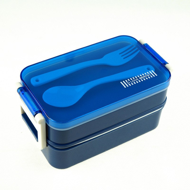 CJ007 lunchbox tableware Double plastic bento lunchboxes Double buckle around lunchbox can microwaveoven