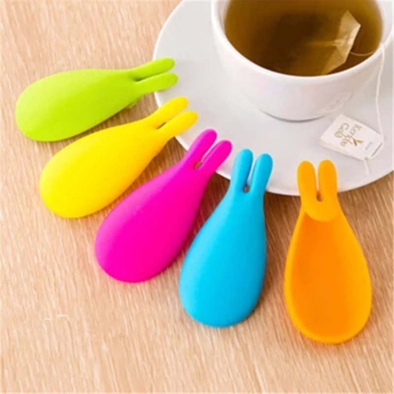 Creative Silicone Gel Rabbit Shape Tea Infuser Bag Holder Candy Colors Mug Gift-F1FB