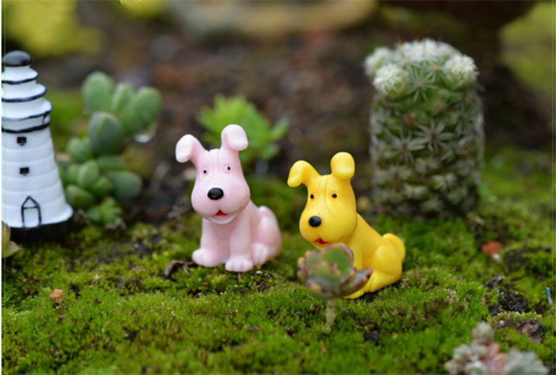 XBJ091 Mini 6pcs Big ear dog decoration supplies moss micro landscape deco  Garden deco Creative handicrafts
