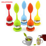 CJ049 Food-grade 1 pc Silicone & Stainless Steel Leaf Tea Leaf Strainer Herbal Spice Infuser Tea Filter