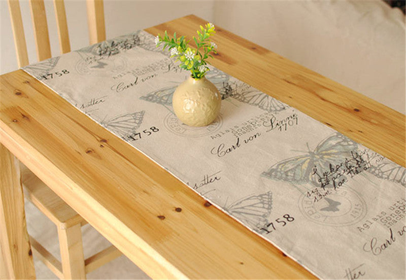 BZ395 British Foreign foot of the bed a Mediterranean table flag textile factory outlets soft linen table runner