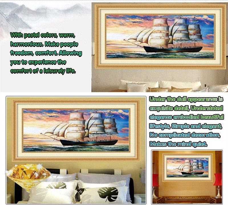 DIY Diamond Mosaic 5D Round Rhinestones Sailing on the sea Diamond Painting Cross Stitch Diamond Embroidery Kits