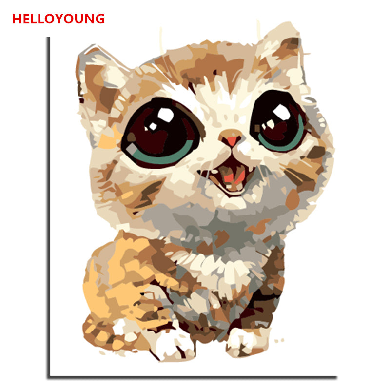 HELLOYOUNG Digital Painting Handpainted Oil Painting Small Meng cat by numbers oil paintings chinese scroll paintings Home Decor