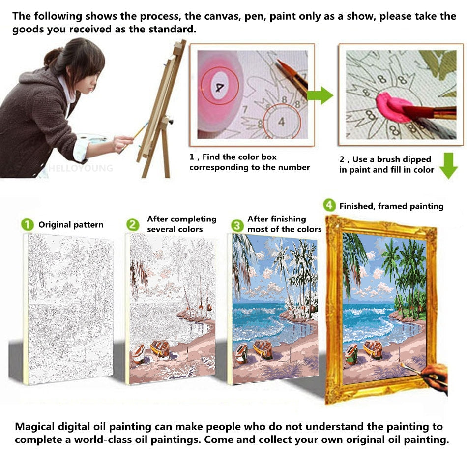 HELLOYOUNG DIY Handpainted Oil Painting Afternoon Digital Painting by numbers oil paintings chinese scroll paintings