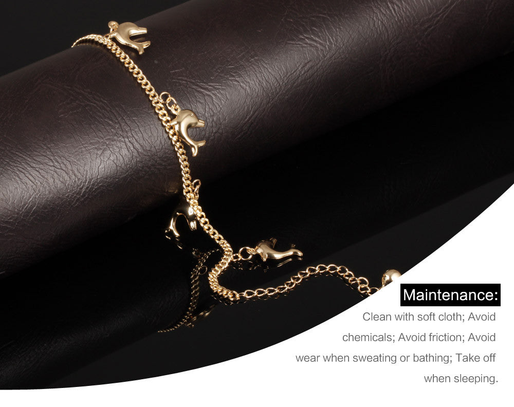 Cute Fished Pendant Woman Anklets New Fashion Gold Color Women Vintage Ankle Jewelry Bracelet KZ735