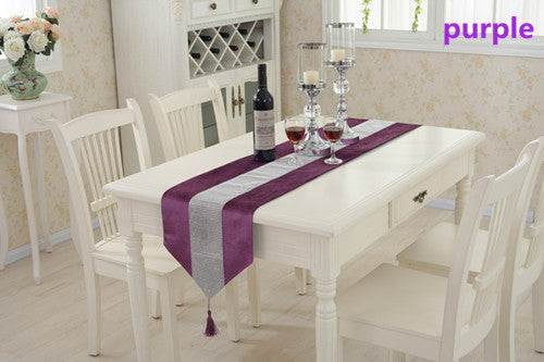 BZ366 Modern Table Runner Flannel Diamond Table Marriage Runners Chirstmas Decoration Purple Golden Table Runner
