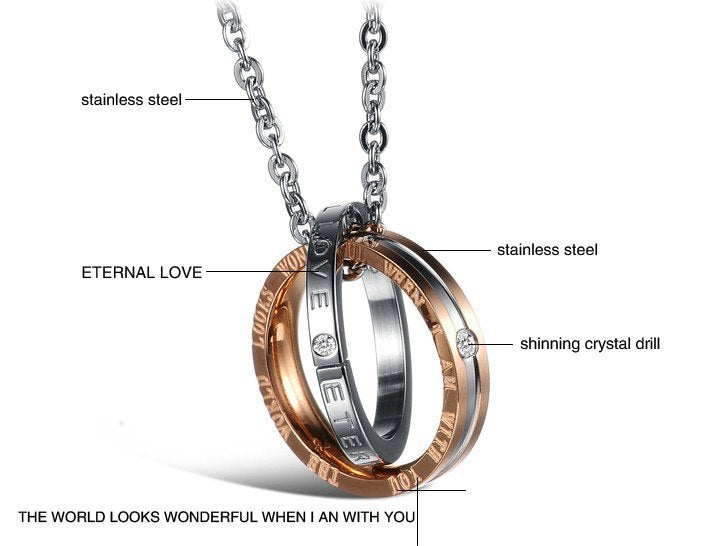 CIFBUY JEWELRY Free Shipping Romantic StyleTitanium Steel Couple Necklace, Pendent Necklace, Engrave Love Words 831