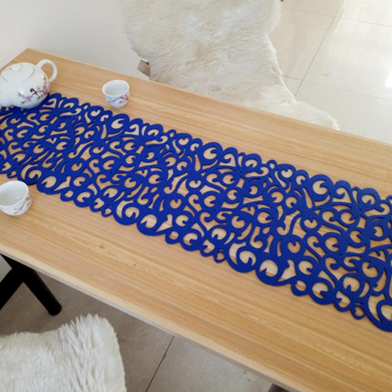 Rectangle Felt Table Runners Modern Hollow Out Table Runner Home Decoration TV Cabinet Table Runners for Wedding Decorations