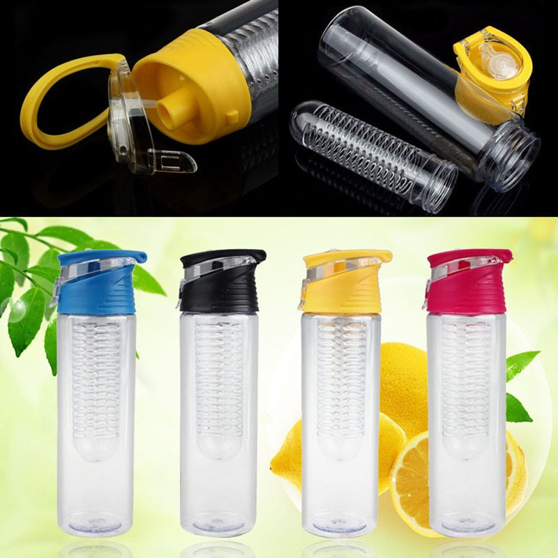 HELLOYOUNG 800ml Fruit Infusing Infuser Water Bottle Sports Lemon Juice Bottle Flip Lid For Camping Travel Outdoor Water Bottle