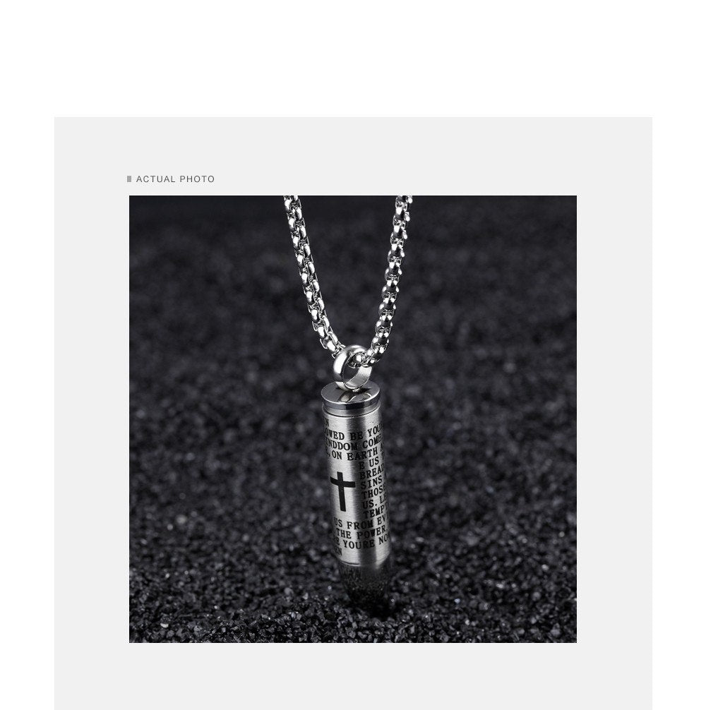CIFBUY Punk Bullet Pendant Necklaces For Men Cross & Bible Design Box Link Chain 3 Colors God Bless You Personality Gift GX1137