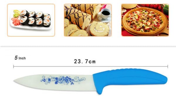 "Beauty Gifts Zirconia kitchen Ceramic Knife fruit knife Set Kit 3"" 4"" 5"" 6"" inch with Blue Flower printed+ Peeler+Covers"