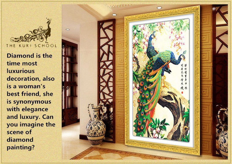 DIY 5D Diamond Painting Cross Stitch Round Diamonds Embroidery Peacock wealth  good fortune Diamond Mosaic Home Decor