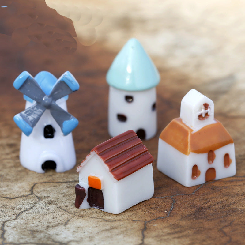 XBJ050 The windmill house 4pcs moss micro landscape decoration resin decoration creative arts and crafts Castle houses
