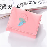 Personality section buttons sweet models candy short card package Fold wallet female multi-function leaf women's wallet