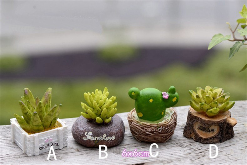 XBJ059 Craft Mini Simulation Resin Succulents Models Garden Miniatures Potted Plants Ornament Home Decor