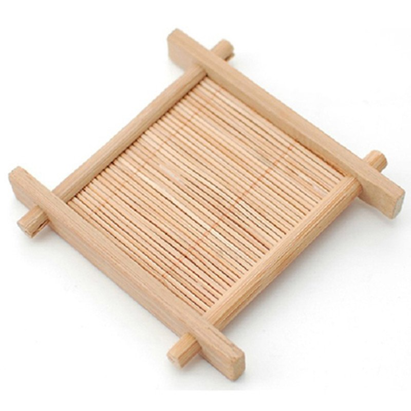 CJ268 Natural 1pc 100% Bamboo Wood Trays For Tea Trays 7cm*7cm Creative Chinese Word Jing Concave Cup Mat