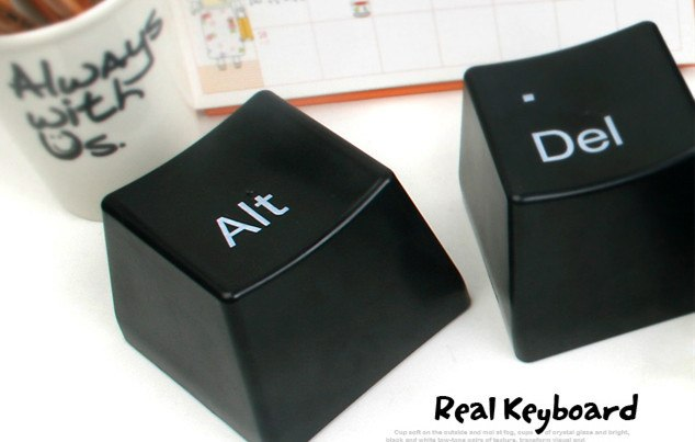 CJ235 Hot 1 Set of 3pcs Ctrl ALT DEL Keyboard Key Design Coffee Tea Cup Container