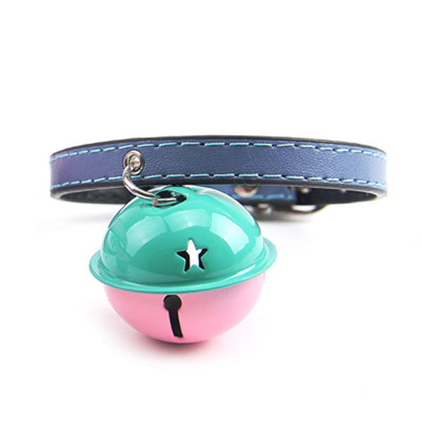 Pet Dog Cat PU Leather Neck Strap Puppy Buckle adjustable puppy collar bell nylon Dot necklace for doggie Soft Pet Animals Neck