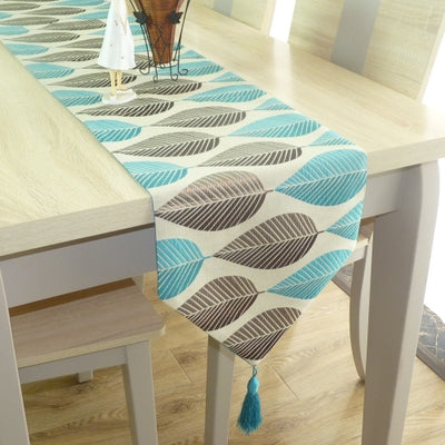 HELLOYOUNG Table Runner Linen Cotton Leaf Jacquard Long Table Cover Fabric Modern Nordic Style Home Decoration